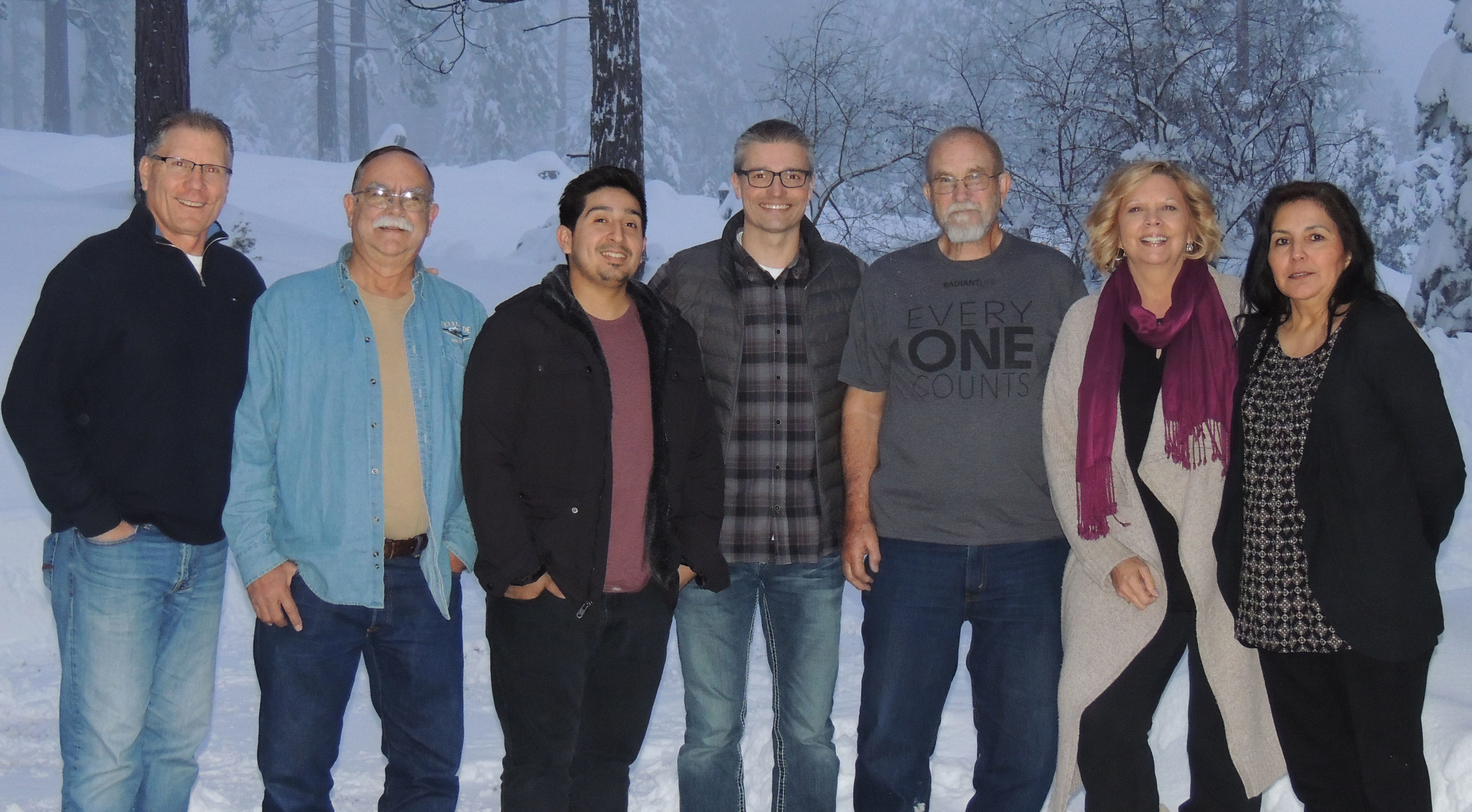 2018 Radiant Life Church Board: Rick Lambdin, Brad Nathan, Aaron Aguilar, Pastor Robert T Schlipp, Clay Follett, April Bettencourt, and Lydia Lerma.